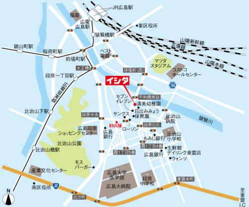 イシダの地図です。駐車場は近隣になります。