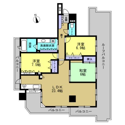 ダイアパレス鶴見橋1302号室の間取り図です