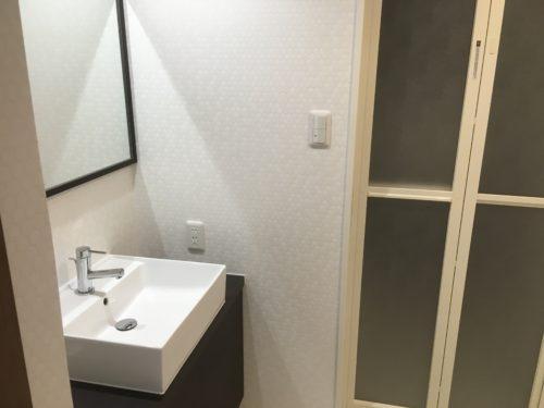 チサンマンション広島のリフォーム工事後の洗面脱衣室の写真です