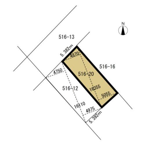 広島市東区矢賀1丁目の売地の測量図です